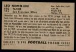 1952 Bowman Large #125  Leo Nomellini  Back Thumbnail