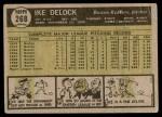 1961 Topps #268 ERR Ike Delock  Back Thumbnail
