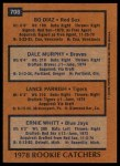 1978 Topps #708   -  Dale Murphy / Bo Diaz / Lance Parrish / Ernie Whitt Rookie Catchers   Back Thumbnail