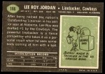 1969 Topps #166  Lee Roy Jordan  Back Thumbnail