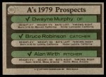 1979 Topps #711   -  Dwayne Murphy / Bruce Robinson / Alan Wirth A's Prospects Back Thumbnail