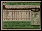 1979 Topps #338  Vic Harris  Back Thumbnail