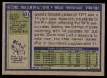 1972 Topps #218  Gene Washington  Back Thumbnail