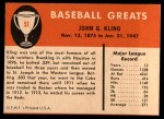 1961 Fleer #52  Johnny Kling  Back Thumbnail