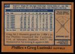 1978 Topps #420  Greg Luzinski  Back Thumbnail