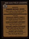 1973 Topps #131 ORG  -  Eddie Kasko / Doug Camilli /  Don Lenhardt / Eddie Popowski / Lee Stange Red Sox Leaders   Back Thumbnail
