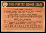 1966 Topps #123   -  Jerry May / Frank Bork Pirates Rookies Back Thumbnail