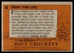 1956 Topps Davy Crockett #18   Fight For Life  Back Thumbnail