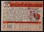 1957 Topps #27  Ted Kazanski  Back Thumbnail