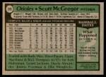 1979 Topps #393  Scott McGregor  Back Thumbnail