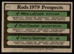 1979 Topps #717   -  Mike LaCross / Ron Oester / Harry Spilman Reds Prospects   Back Thumbnail