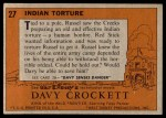 1956 Topps Davy Crockett #27   Indian Torture  Back Thumbnail