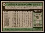 1979 Topps #38  Bernie Carbo  Back Thumbnail