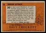 1956 Topps Davy Crockett #14   Indian Attack  Back Thumbnail