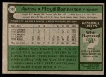 1979 Topps #306  Floyd Bannister  Back Thumbnail