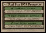 1979 Topps #702   -  Joel Finch / Garry Hancock / Allen Ripley Red Sox Prospects   Back Thumbnail