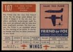 1952 Topps Wings #107   SO-6000 Triton Back Thumbnail