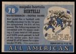 1955 Topps #76  Angelo Bertelli  Back Thumbnail