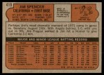 1972 Topps #419  Jim Spencer  Back Thumbnail