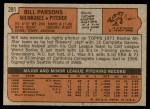 1972 Topps #281  Bill Parsons  Back Thumbnail