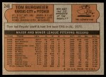 1972 Topps #246  Tom Burgmeier  Back Thumbnail