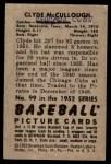 1952 Bowman #99  Clyde McCullough  Back Thumbnail