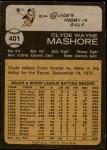 1973 Topps #401  Clyde Mashore  Back Thumbnail
