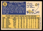 1970 Topps #283  Angel Bravo  Back Thumbnail