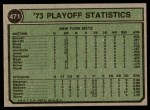 1974 Topps #471  Jon Matlock 1973 NL Playoffs Back Thumbnail