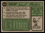1974 Topps #252  Dave Parker  Back Thumbnail