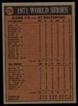 1972 Topps #224   -  Davey Johnson / Mark Belanger 1971 World Series - Game #2 Back Thumbnail