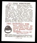 1948 Bowman REPRINT #13  Paul Armstrong  Back Thumbnail