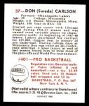 1948 Bowman REPRINT #37  Don Carlson  Back Thumbnail