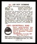 1948 Bowman REPRINT #56  Lee Roy Robbins  Back Thumbnail