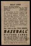 1952 Bowman #240  Billy Loes  Back Thumbnail