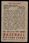 1951 Bowman #165  Ted Williams  Back Thumbnail