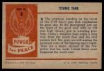 1954 Bowman Power for Peace #8   Titanic Tank Back Thumbnail