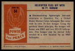 1954 Bowman Power for Peace #54   Helicopter Flies off with 50 Ft. Hangar Back Thumbnail