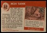 1954 Topps World on Wheels #42   M24 Tank Back Thumbnail