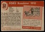 1954 Topps World on Wheels #37   Ford Roadster 1910 Back Thumbnail