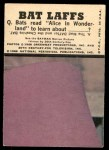 1966 Topps Batman Bat Laffs #1   Bruce Wayne Back Thumbnail