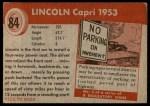 1954 Topps World on Wheels #84   Lincoln Capri 1953 Back Thumbnail