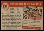 1954 Topps World on Wheels #121   Brewster Town Car 1915 Back Thumbnail