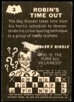 1966 Topps Batman -  Riddler Back #3   Robin's Time Out Back Thumbnail