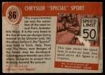 1954 Topps World on Wheels #86   Chrysler Special Sport Back Thumbnail