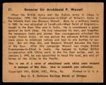 1941 Gum Inc. War Gum #21   General Sir Archibald P. Wavell Back Thumbnail