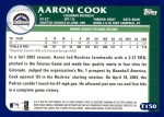 2003 Topps Traded #150 T  -  Aaron Cook Prospect Back Thumbnail