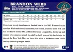 2003 Topps Traded #169 T  -  Brandon Webb First Year Back Thumbnail