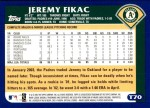 2003 Topps Traded #70 T Jeremy Fikac  Back Thumbnail