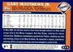 2003 Topps Traded #15 T Gary Matthews Jr.  Back Thumbnail